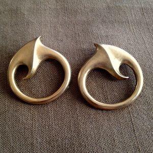 Vintage Eighties Big Gold Bold Earrings